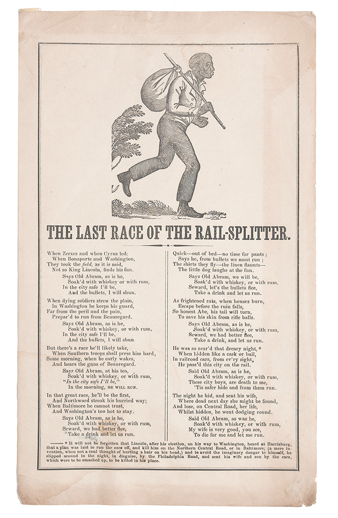 (SLAVERY AND ABOLITION.) LINCOLN, ABRAHAM. The Last Race of the Rail-Splitter.