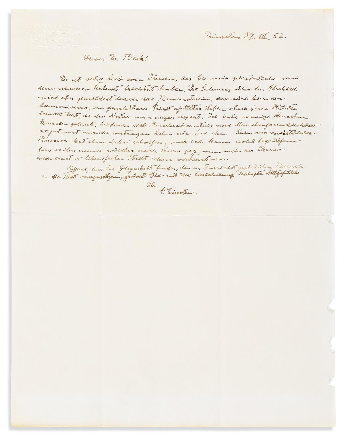 (SCIENTISTS.) EINSTEIN, ALBERT. Autograph Letter Signed, A. Einstein, to physician William C. Beck (Dear Dr. Beck), in German,