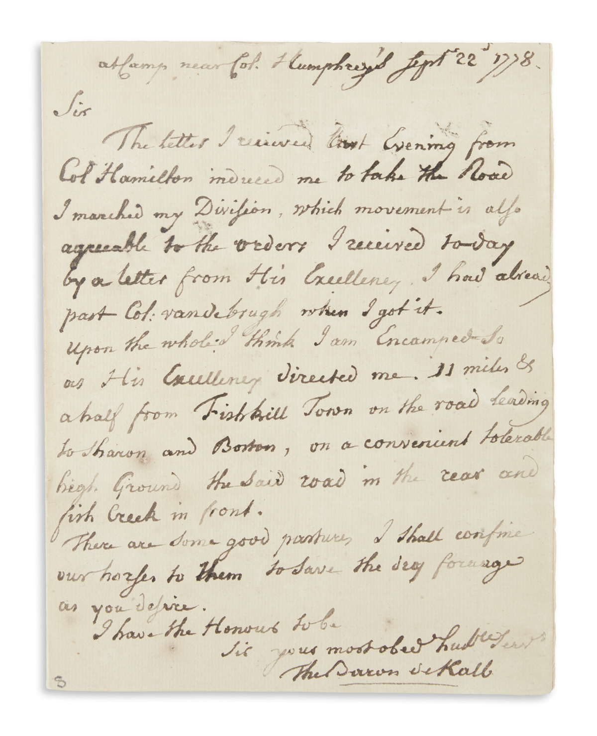 KALB, JOHANN. Autograph Letter Signed, The Baron deKalb, to Colonel Charles Pettit,