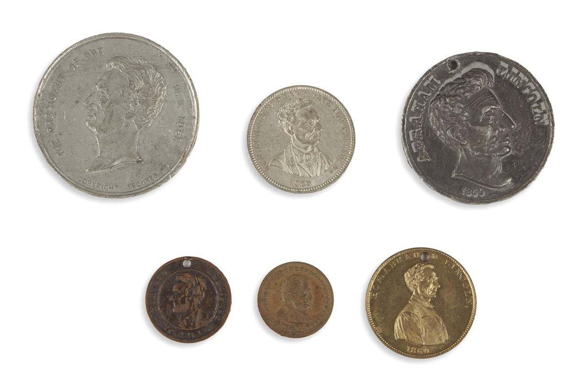 (REALIA)-Group-of-6-Lincoln-campaign-coins