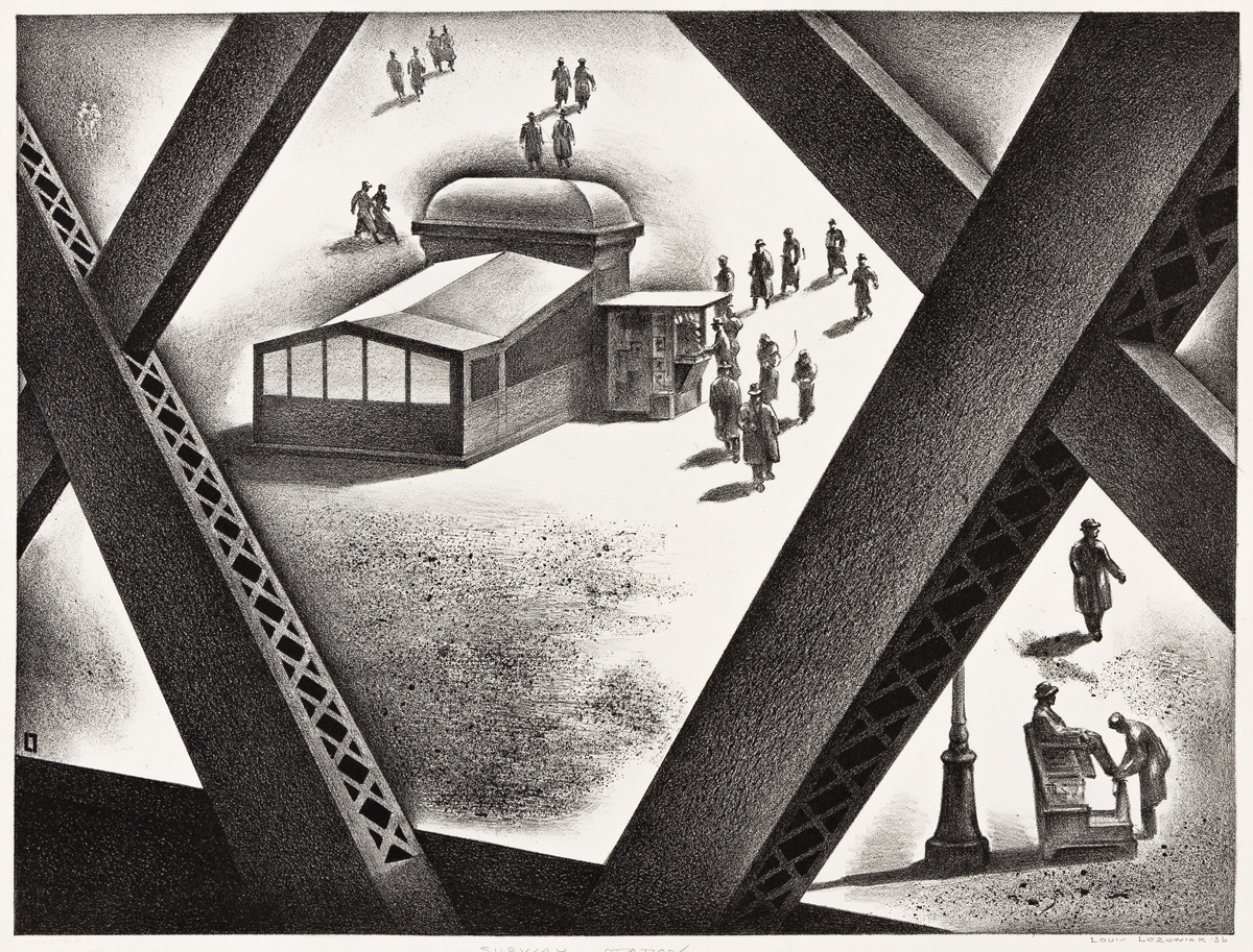 LOUIS LOZOWICK (1892-1973) Subway Station.