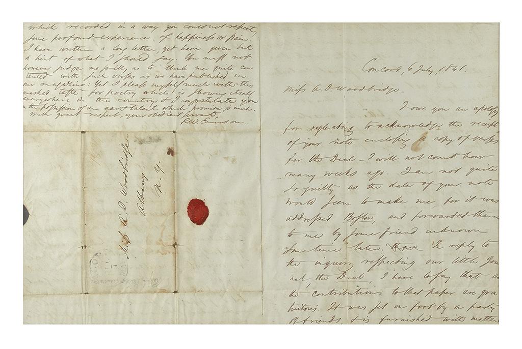 EMERSON, RALPH WALDO. Autograph Letter Signed, R.W. Emerson, to Abby Dwight Woodbridge (Miss A.D. Woodbridge),