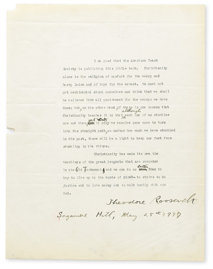 ROOSEVELT, THEODORE. Two items: Typescript dated and Signed, with holograph corrections * Typed Letter Signed, to Judson Swift, sending