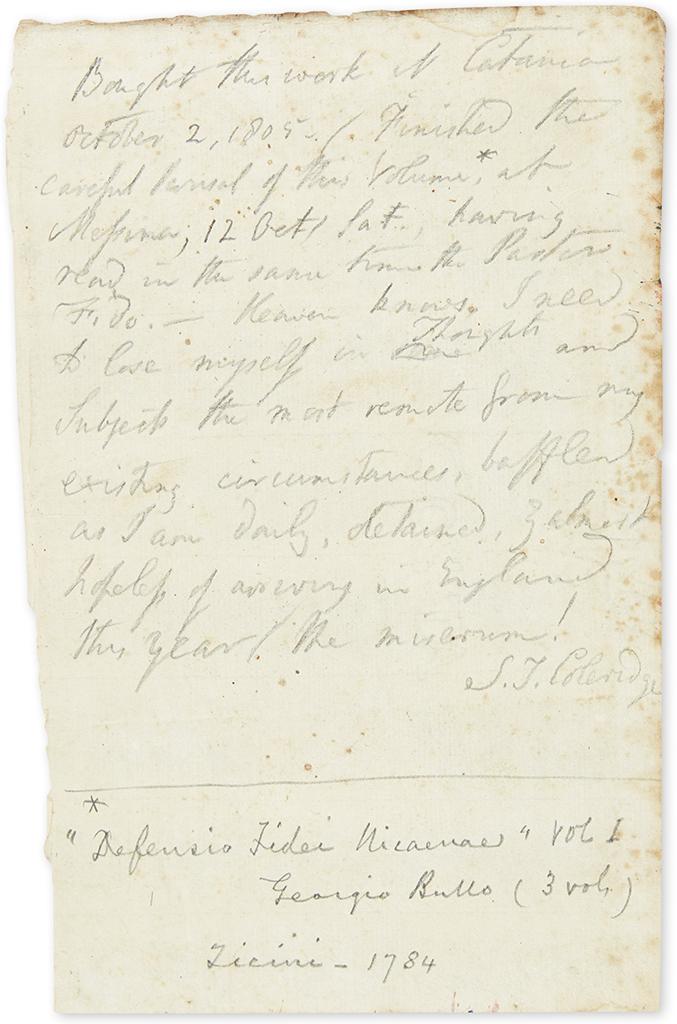 COLERIDGE, SAMUEL TAYLOR. Autograph Manuscript Signed, S.T. Coleridge, in pencil, notes concerning a book, written on a leaf probably