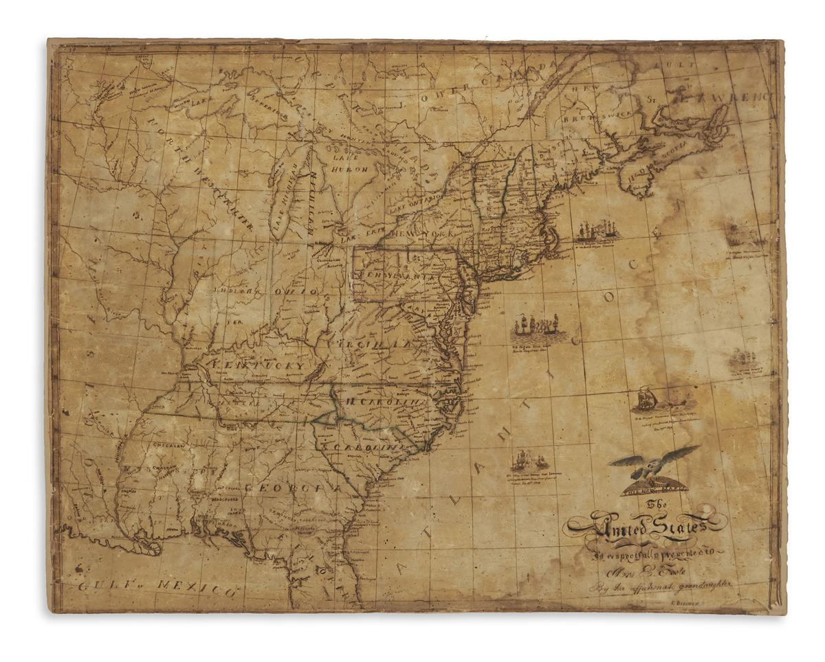 (MANUSCRIPT SCHOOL MAP.) Beecher, Catharine. This New Map of the United States