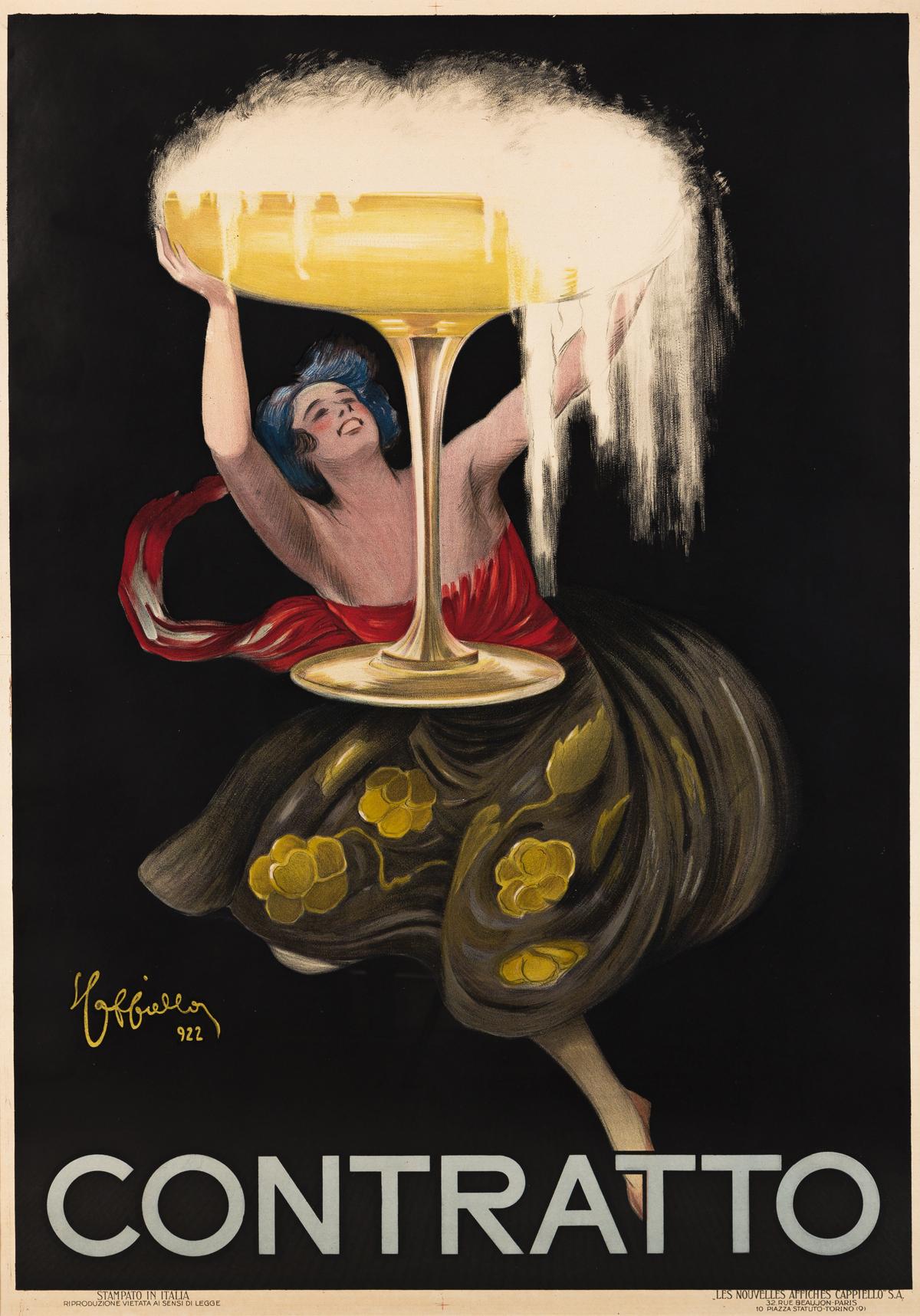 LEONETTO CAPPIELLO (1875-1942).  CONTRATTO. 1922. 54x37¾ inches, 137x96 cm. Les Nouvelles Affiches Cappiello, Torino.