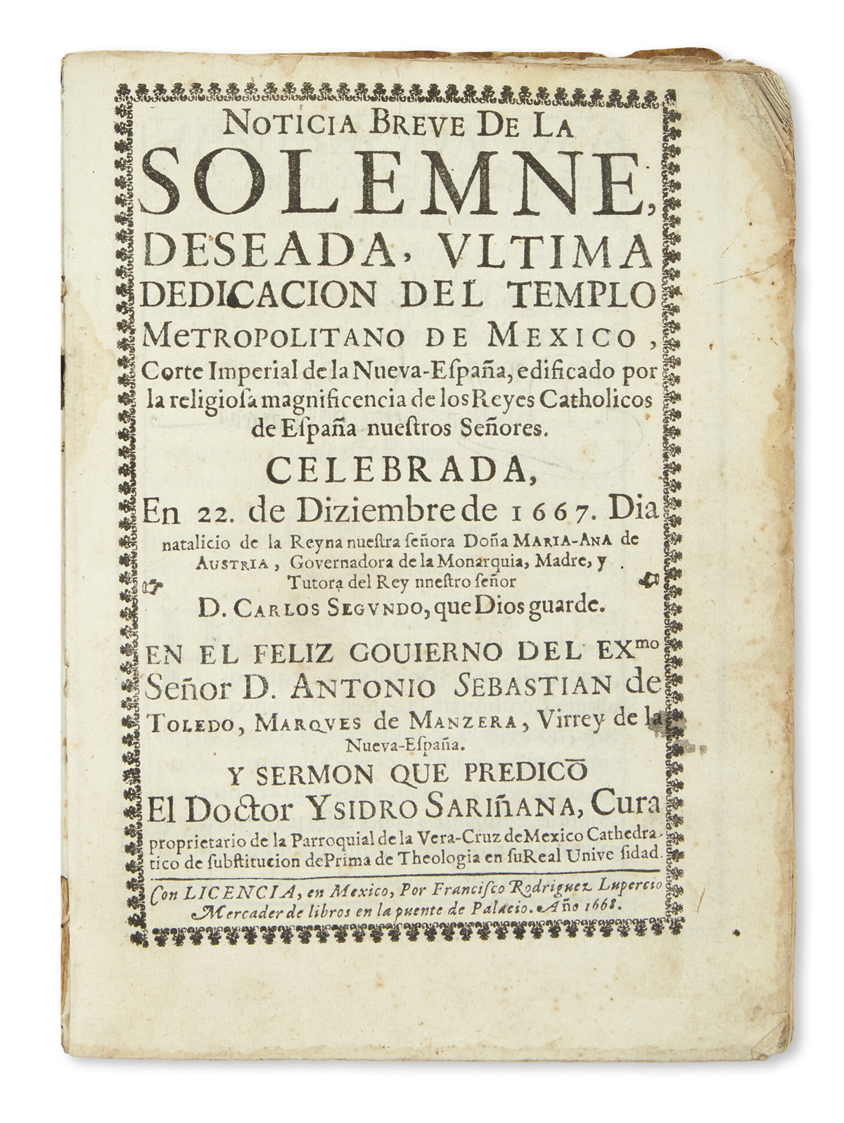 (MEXICAN-IMPRINT--1668)-Sariñana-Isidro-Noticia-breve-de-la-