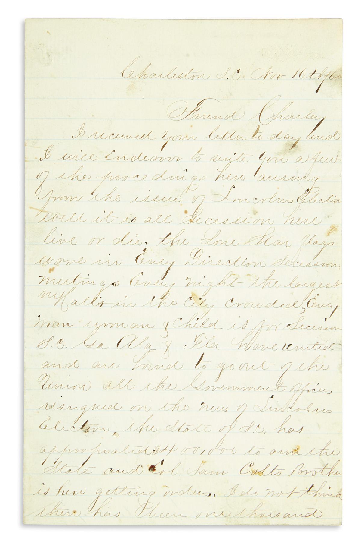 (CIVIL-WAR--CONFEDERATE)-Letter-describing-the-mood-in-Charl