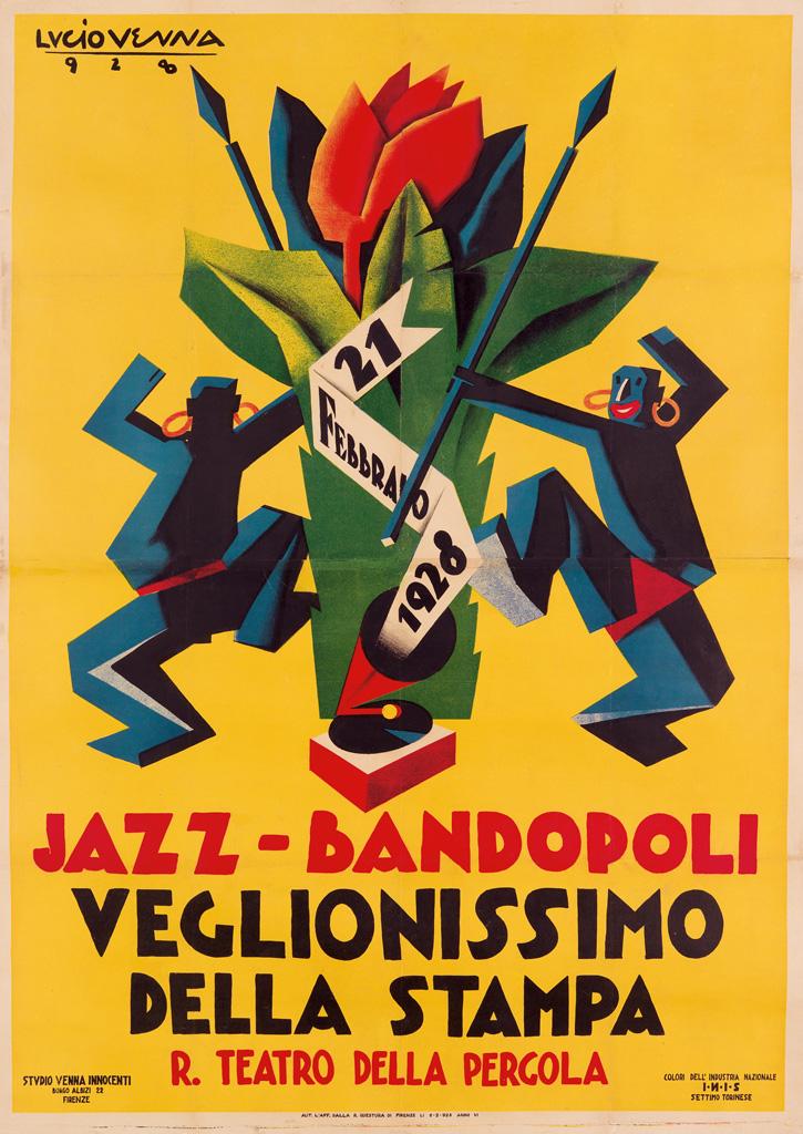LUCIO VENNA (GIUSEPPE LANDSMANN, 1897-1974). JAZZ - BANDOPOLI / VEGLIONISSIMO DELLA STAMPA. 1928. 52x37 inches, 133x95 cm. Studio Venna