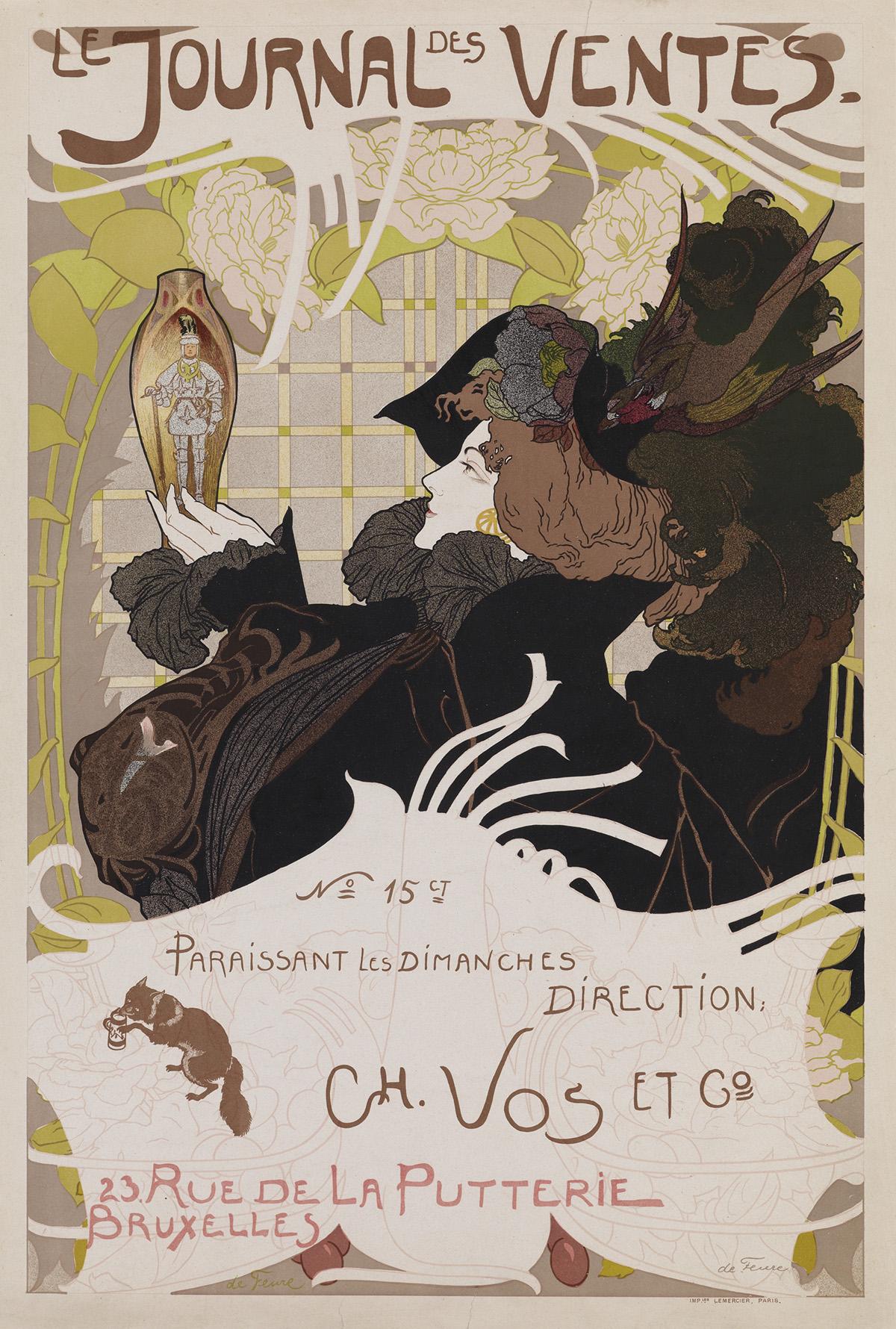 GEORGES DE FEURE (1868-1943). [LE JOURNAL DES VENTES.] 1898. 25x17 inches, 64x43 cm. Le Mercier, Paris.
