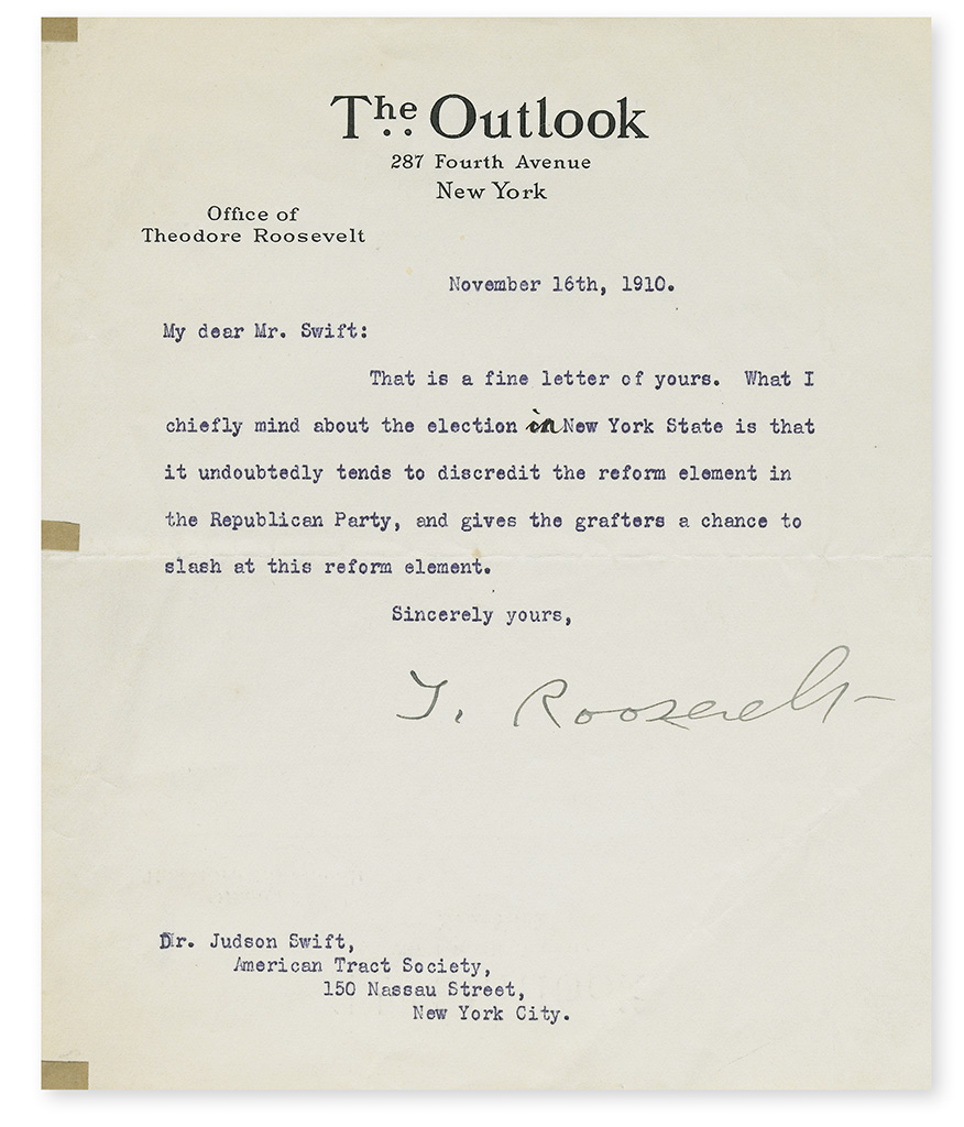 ROOSEVELT, THEODORE. Archive of correspondence between him and General Secretary of the American Tract Society Dr. Judson Swift,