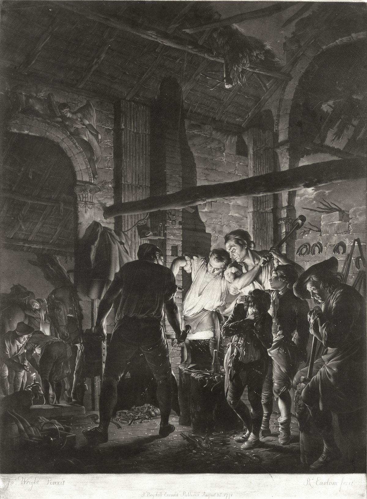RICHARD-EARLOM-(after-Wright-of-Derby)-A-Blacksmiths-Shop
