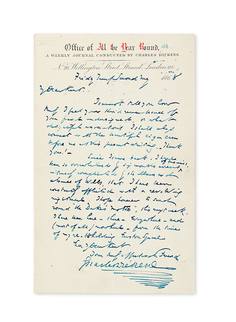 DICKENS, CHARLES. Autograph Letter Signed, to editor of the Sun Charles Kent (My Dear Kent),