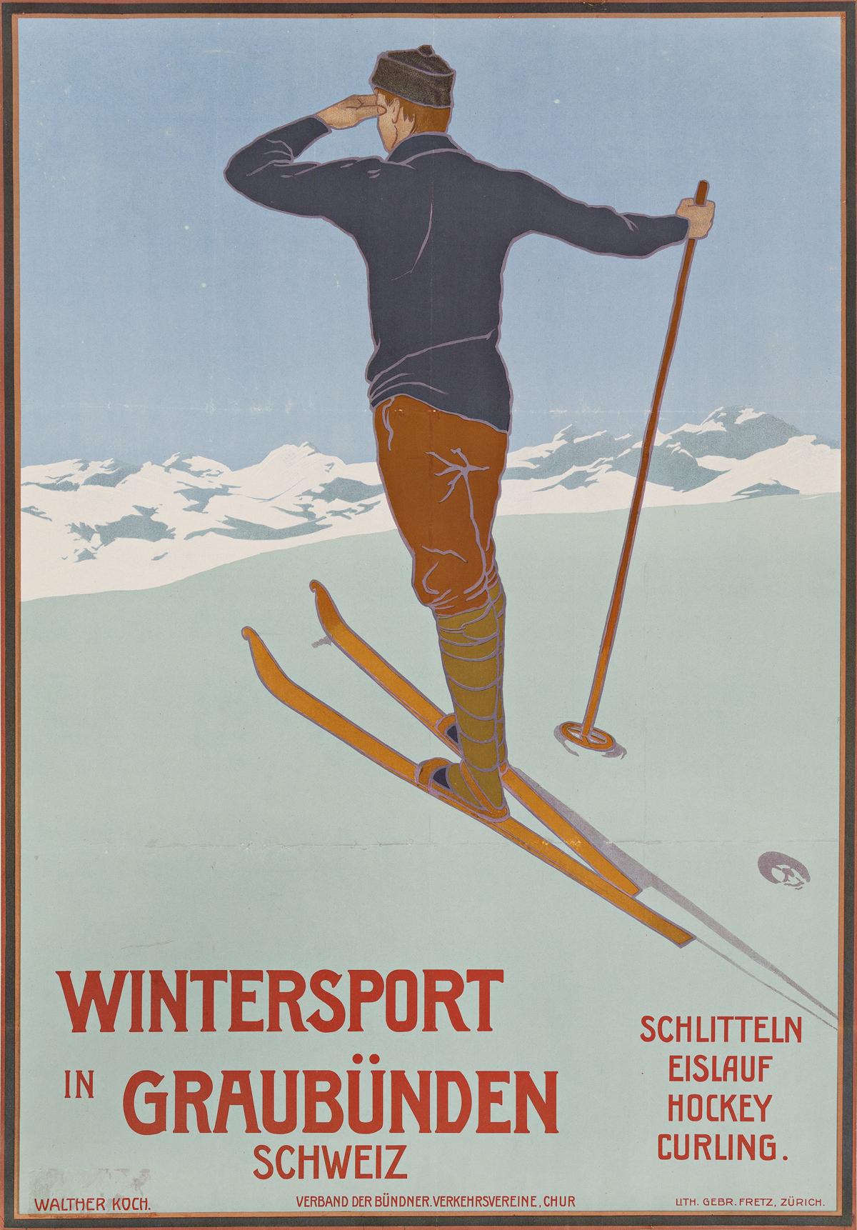Walther Koch (1875-1915).  WINTERSPORT IN GRAUBÜNDEN SCHWEIZ. 1907.