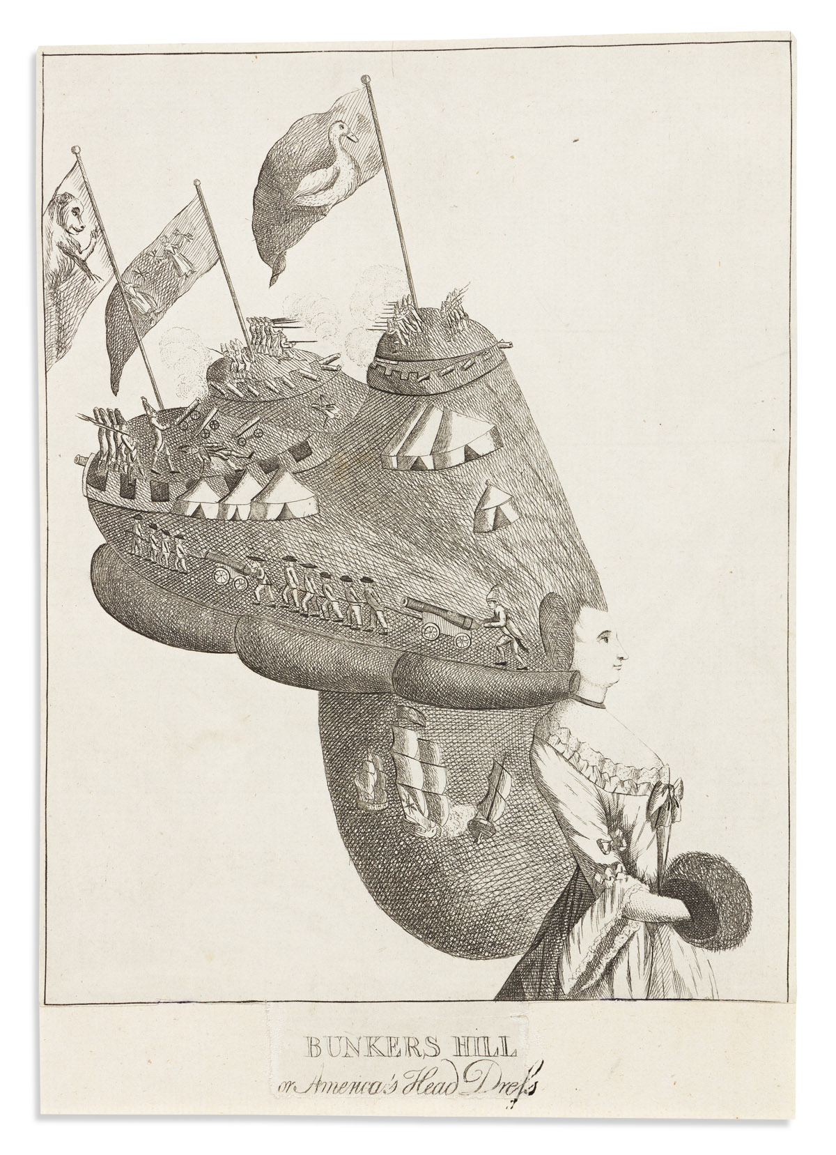 (AMERICAN REVOLUTION--1776.) [Matthew & Mary Darly], artists. Bunkers Hill, or Americas Head Dress.