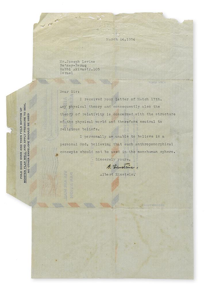 EINSTEIN, ALBERT. Typed Letter Signed, A. Einstein, to Joseph Levine,