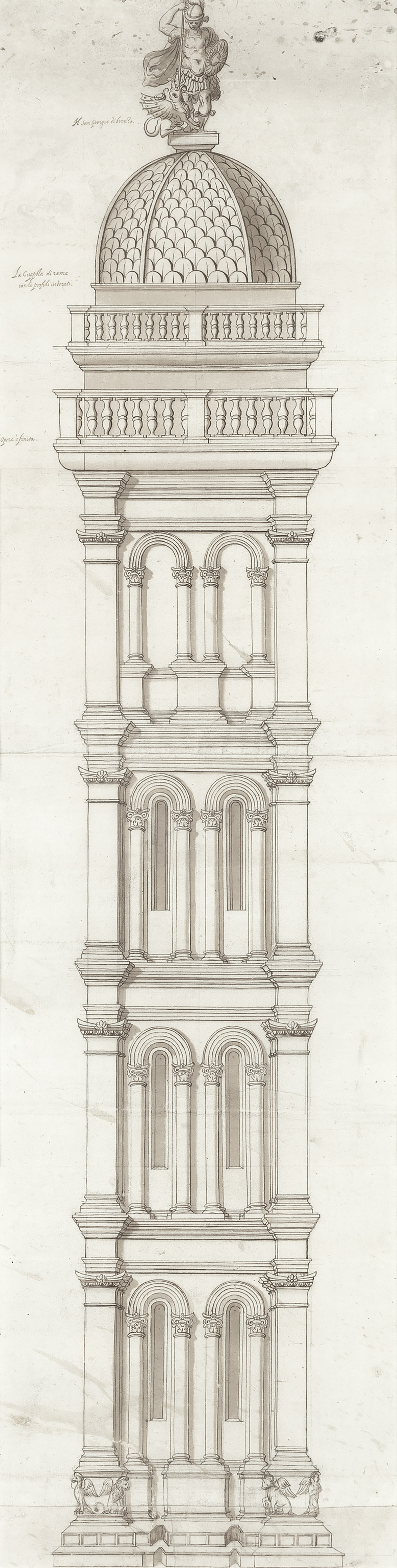 VENETIAN-SCHOOL-17TH-CENTURY-Architectural-Study-of-a-Tower-