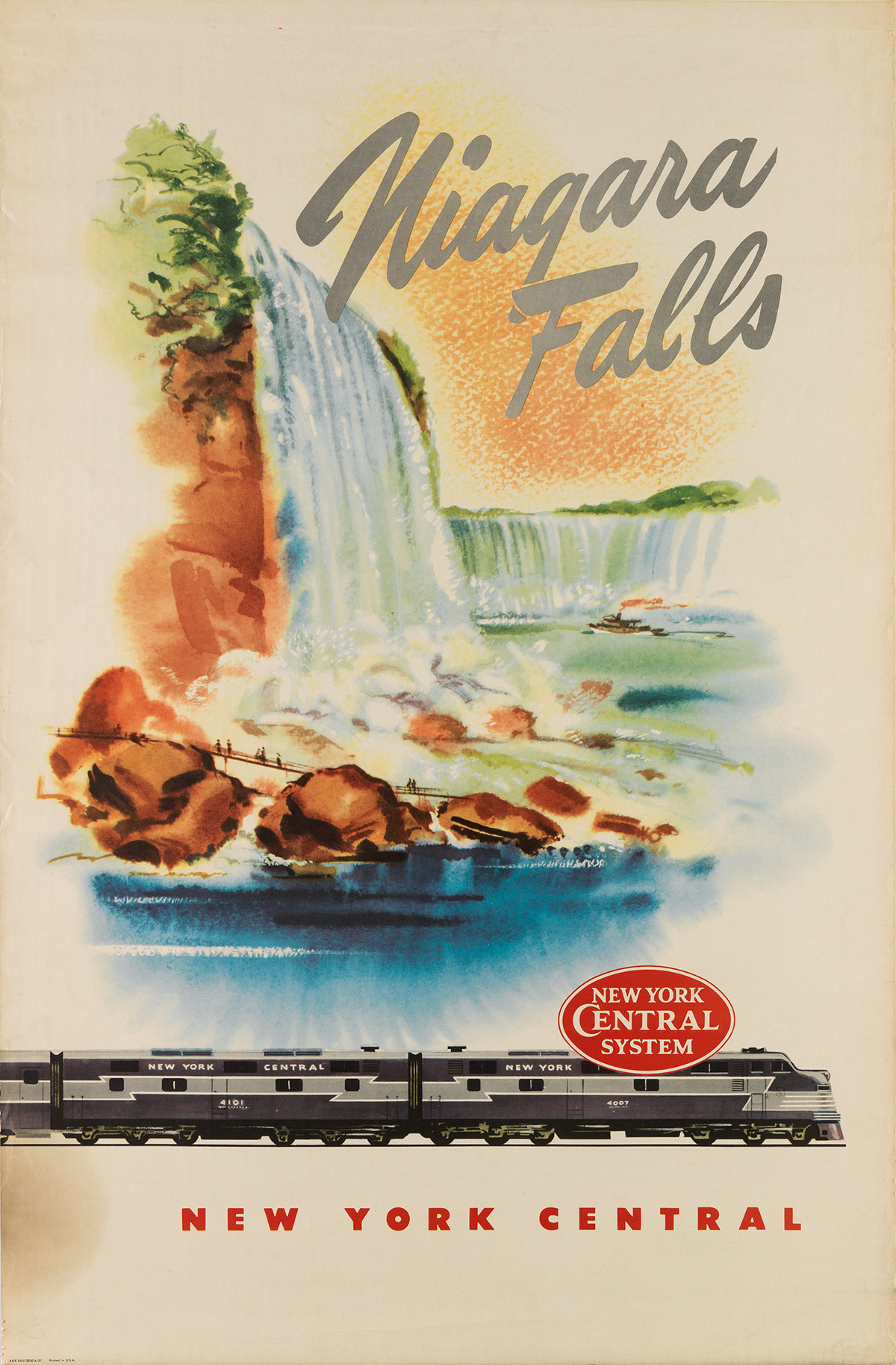 Designer Unknown.  NIAGARA FALLS / NEW YORK CENTRAL. 1951.