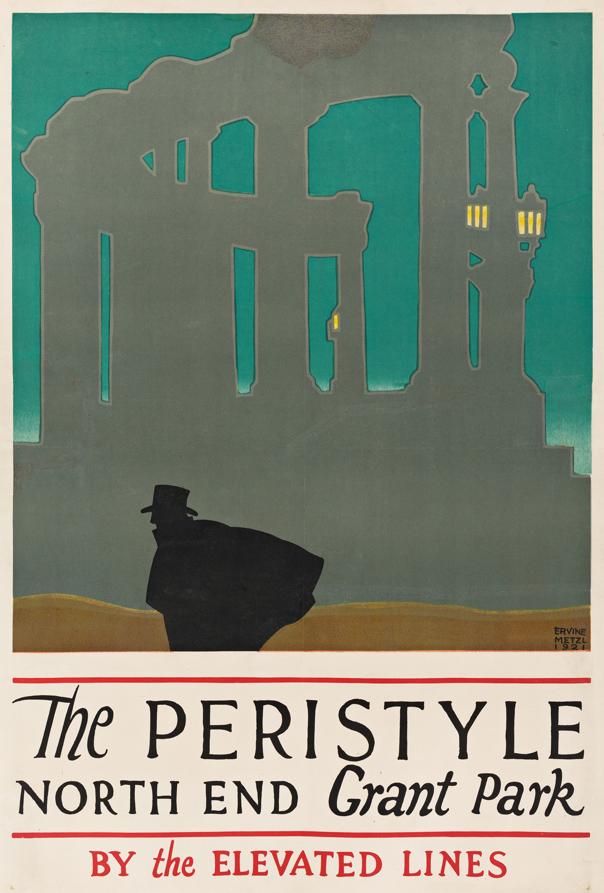 Ervine Metzl (1899-1963).  THE PERISTYLE / NORTH END GRANT PARK / BY THE ELEVATED LINES. 1921.