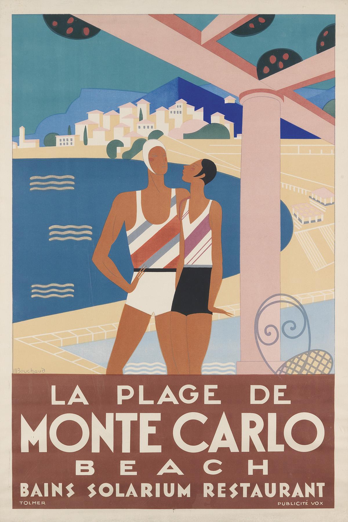 MICHEL BOUCHAUD (DATES UNKNOWN).  LA PLAGE DE MONTE CARLO. 1929. 47x31½ inches, 119½x80 cm. Publicité Vox, Paris.