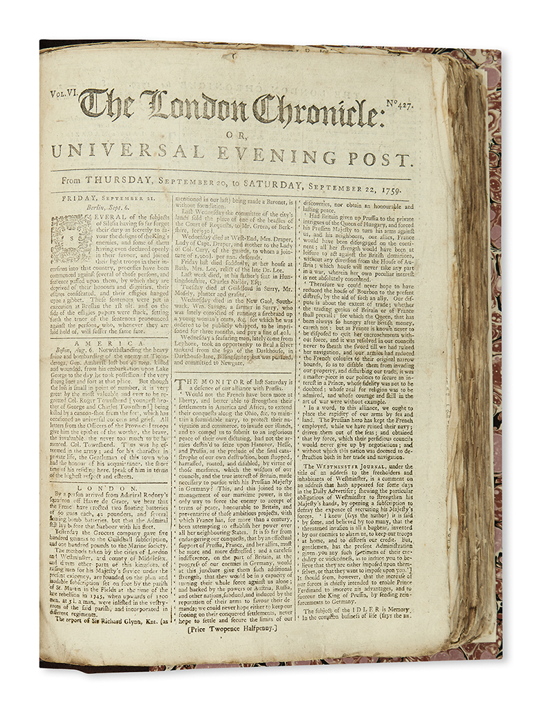 (COLONIAL WARS.) The London Chronicle for the Year 1759.