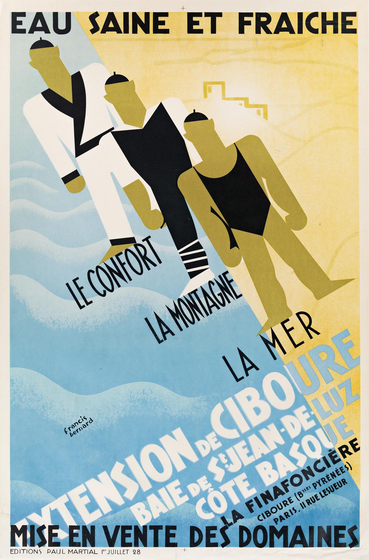 Francis Bernard (1900-1979).  EAU SAINE ET FRAICHE / EXTENSION DE CIBOURE. 1928.