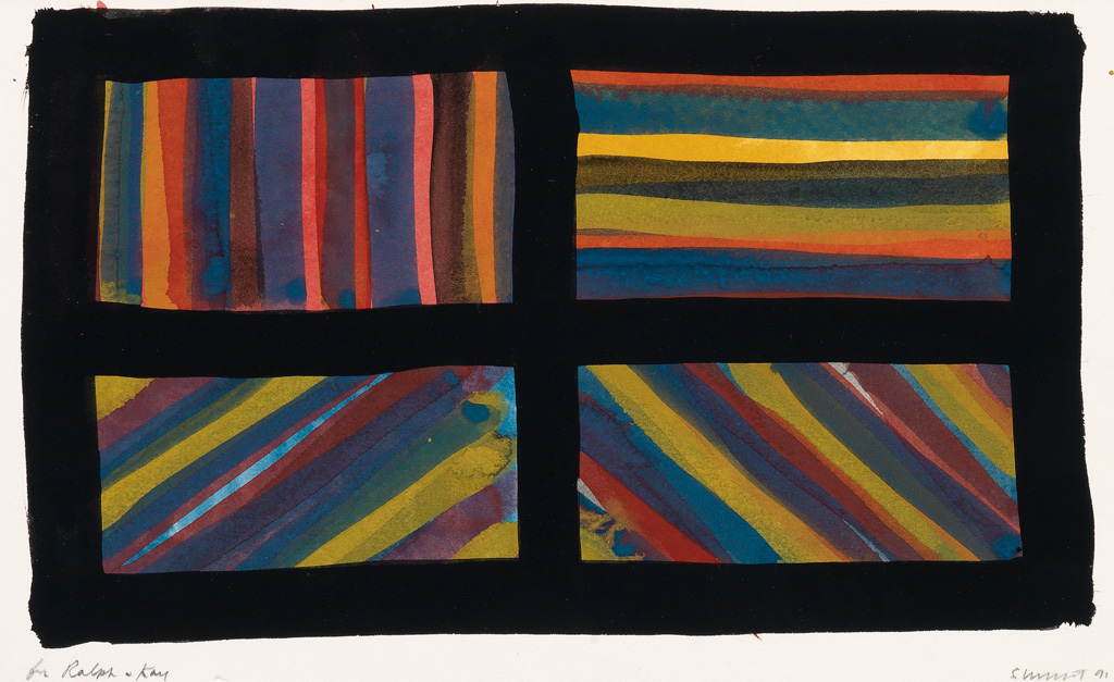 SOL LEWITT Group of 4 works on paper.
