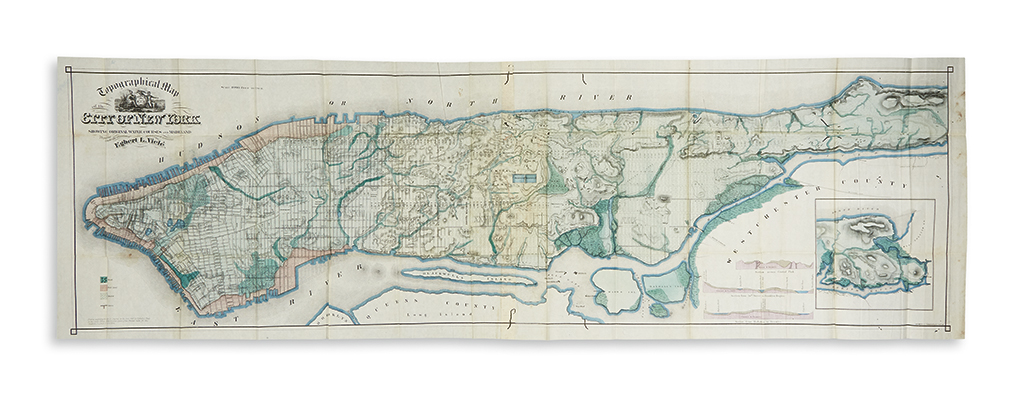 (NEW YORK CITY.) Viele, Egbert. Topographical Map of the City of New York Showing Original Water Courses and Made Land.
