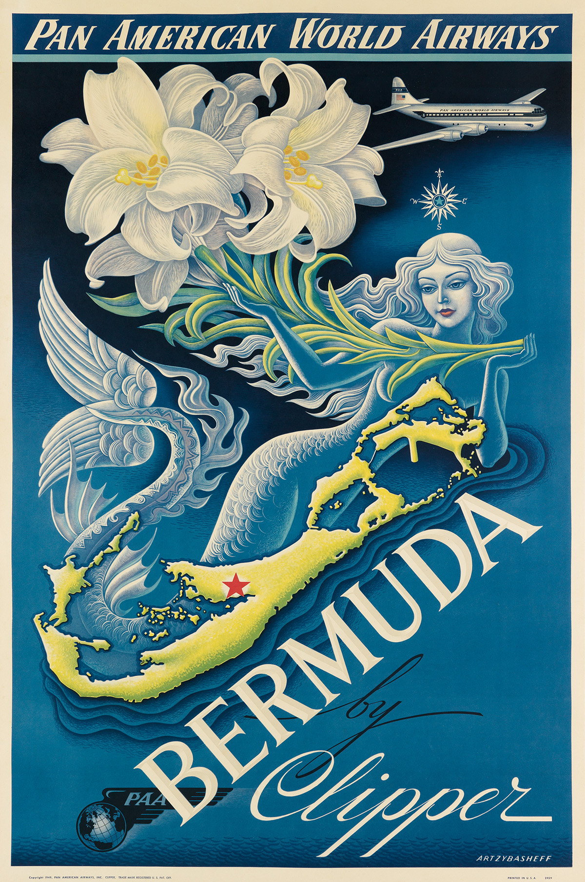 BORIS-ARTZYBASHEFF-(1899-1965)-BERMUDA-BY-CLIPPER--PAN-AMERI