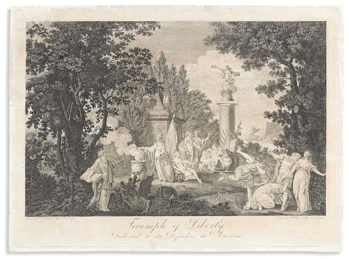 (ALLEGORIES.) Peter C. Verger, engraver; after J.F. Renault. Triumph of Liberty, Dedicated to its Defenders in America.