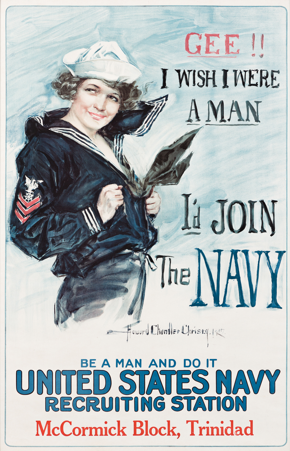 HOWARD CHANDLER CHRISTY (1873-1952).  GEE!! I WISH I WERE A MAN / ID JOIN THE NAVY. 1918. 40x25¾ inches, 101½x65½ cm.