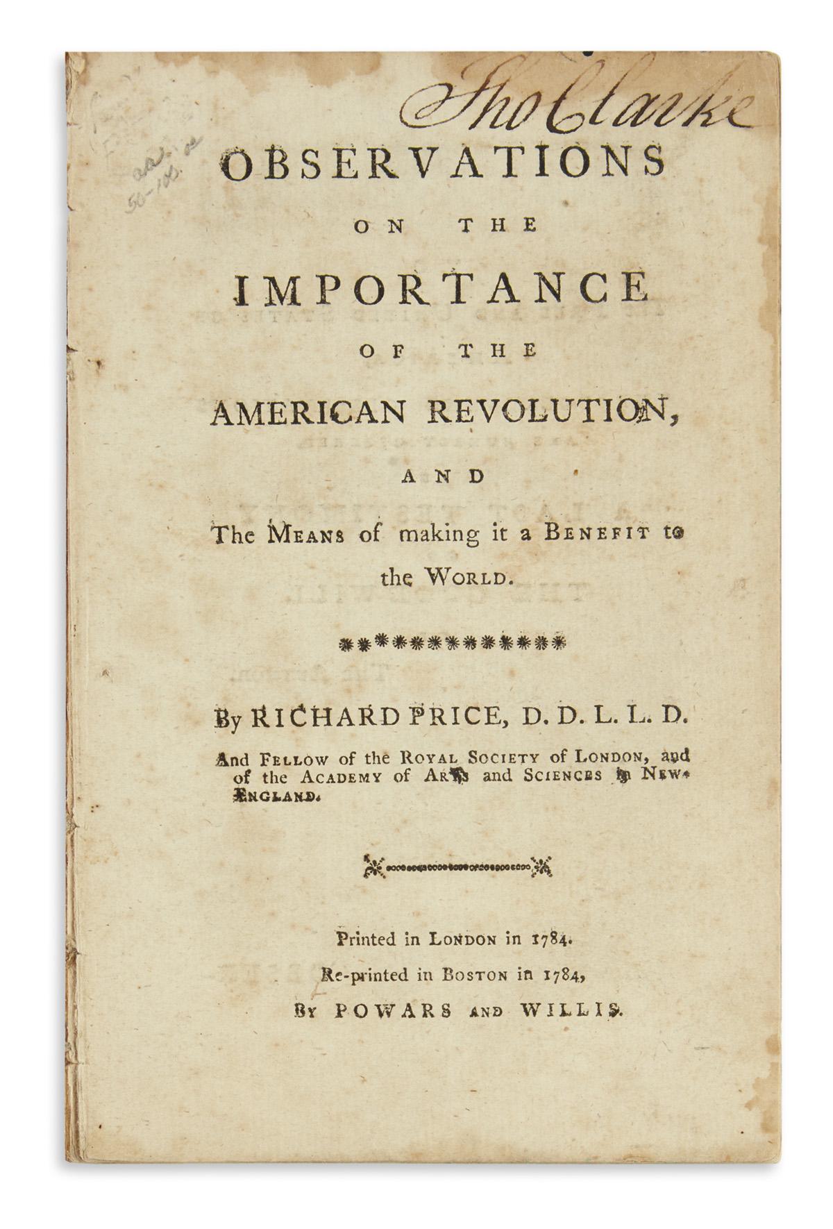 (AMERICAN-REVOLUTION--HISTORY)-Price-Richard-Observations-on