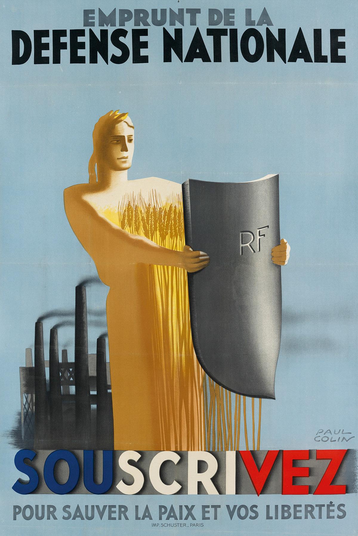 PAUL-COLIN-(1892-1986)-EMPRUNT-DE-LA-DEFENSE-NATIONALE--SOUSCRIVEZ-Circa-1938-46x30-inches-116x77-cm-Schuster-Paris