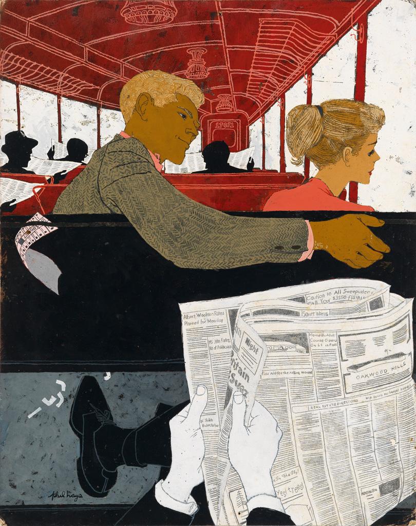 PHIL HAYS. Couple on a Train.