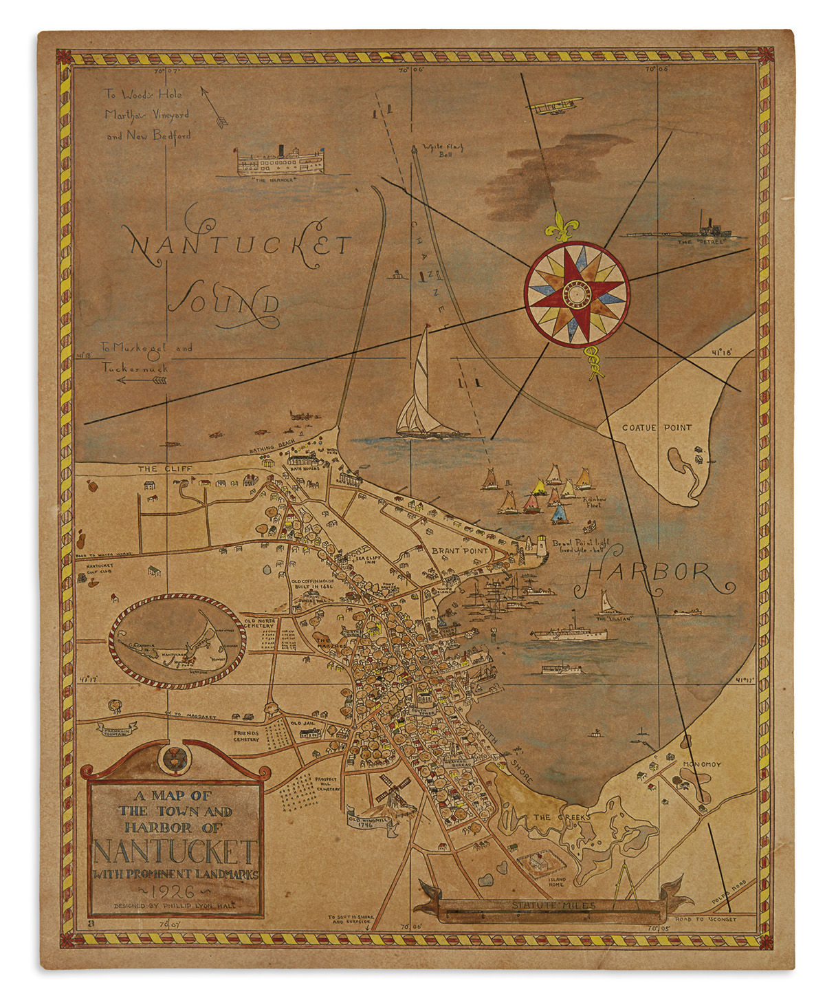 (NANTUCKET)-Hall-Phillip-Lyon-A-Map-of-the-Town-and-Harbor-o