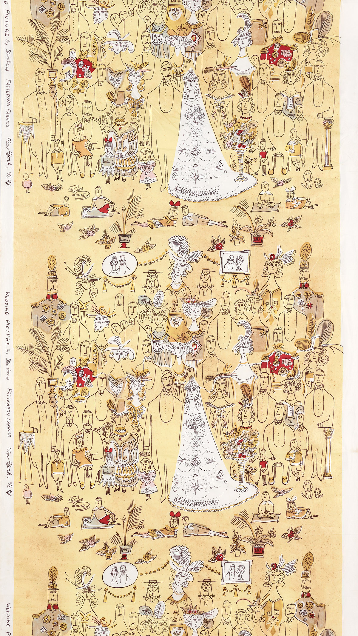 SAUL-STEINBERG-(1914-1999)-WEDDING-PICTURE-Bolt-of-silk-fabr