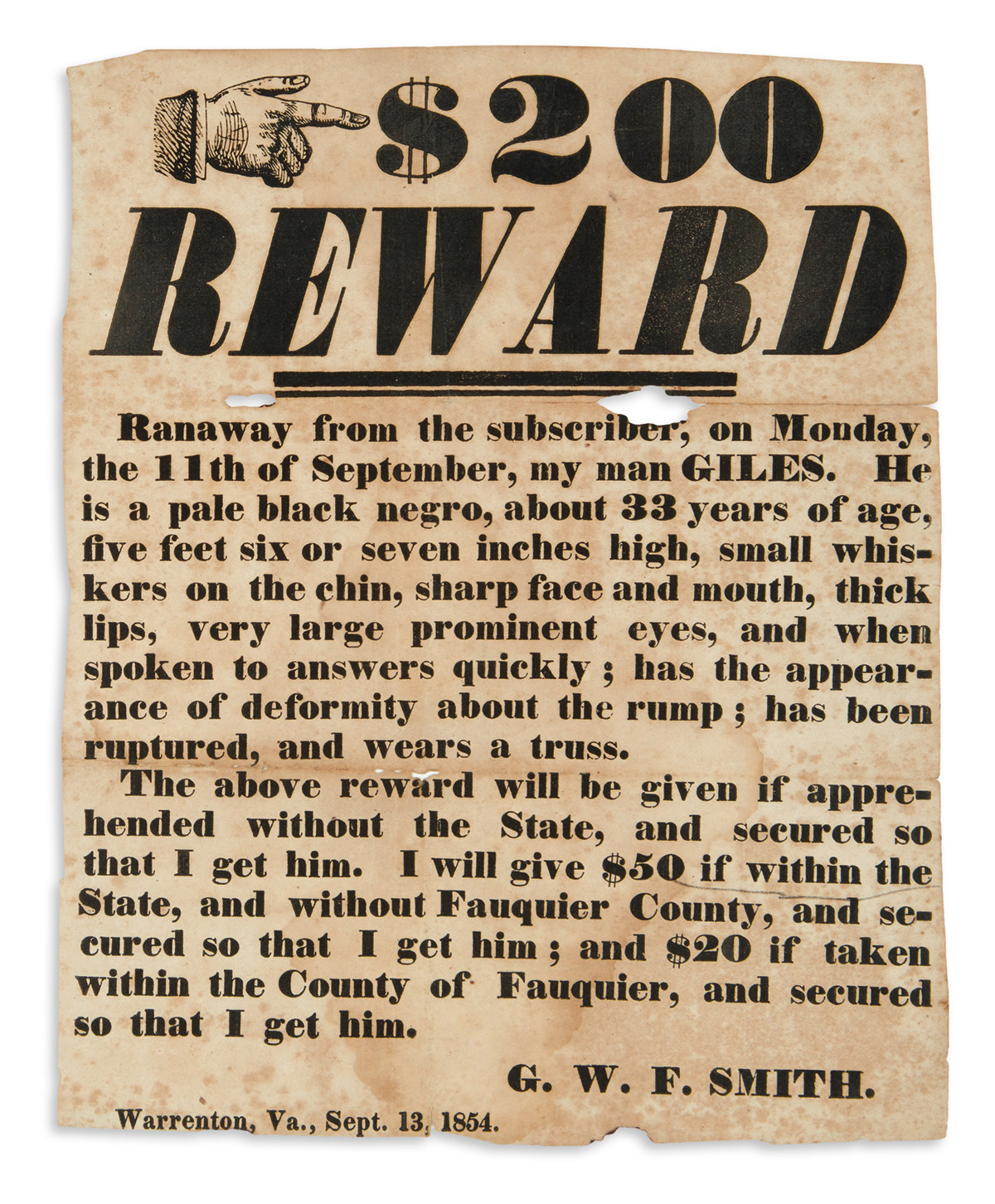 (SLAVERY AND ABOLITION.) G.W.F. Smith. $200 Reward, Ranaway from the Subscriber . . . My Man Giles.