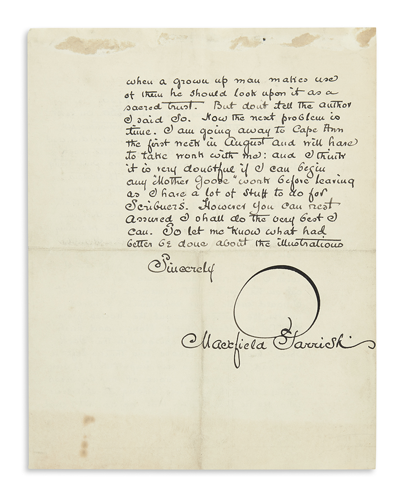 PARRISH, MAXFIELD. Illustrated Autograph Letter Signed, to publisher Chauncey L. Williams (My dear Mr. Williams),