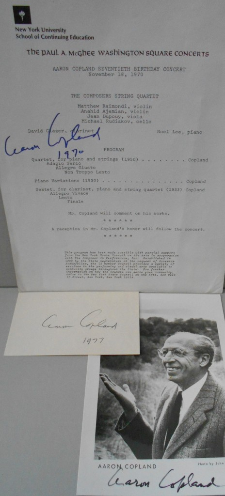 COPLAND-AARON-Group-of-3-items-Photograph-Signed--Signature-
