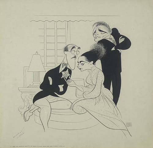 [Creative Minds.] S.J. Perelman, Elizabeth Taylor, and Richard Burton. Pen and ink. 20x21 inches, matted. Signed lower right. 1964.