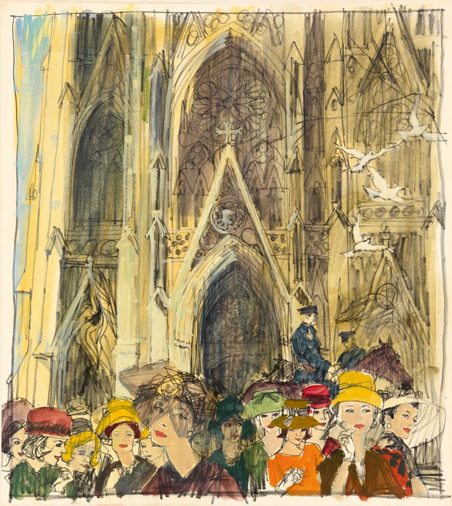 JAMES-NEIL-BOYLE-Hatted-ladies-before-St-Patricks-Cathedral