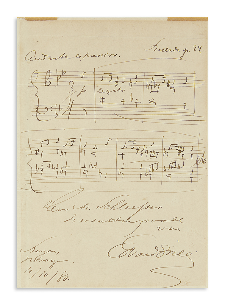 GRIEG-EDVARD-Autograph-Musical-Quotation-Signed-and-Inscribe