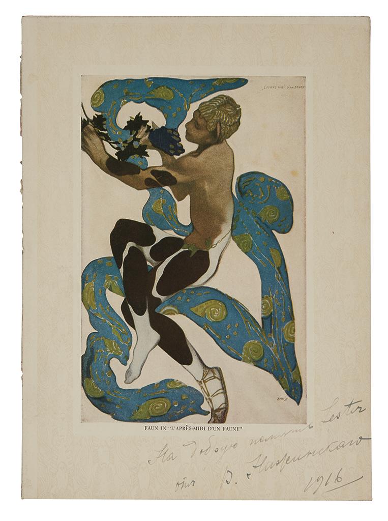 NIJINSKY, VASLAV. Reproduction of an artwork that Léon Bakst created for LAprès-midi dun Faune Inscribed and Signed, V. Nijinsky, t