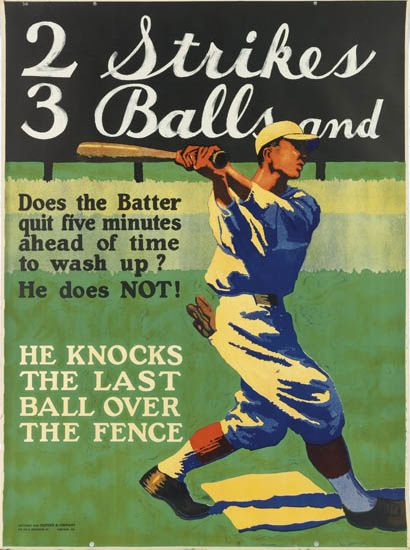 DESIGNER UNKNOWN. 2 STRIKES 3 BALLS AND / HE KNOCKS THE LAST BALL OVER THE FENCE. 1925. 48x36 inches, 122x91 cm. Mather & Company, Chic