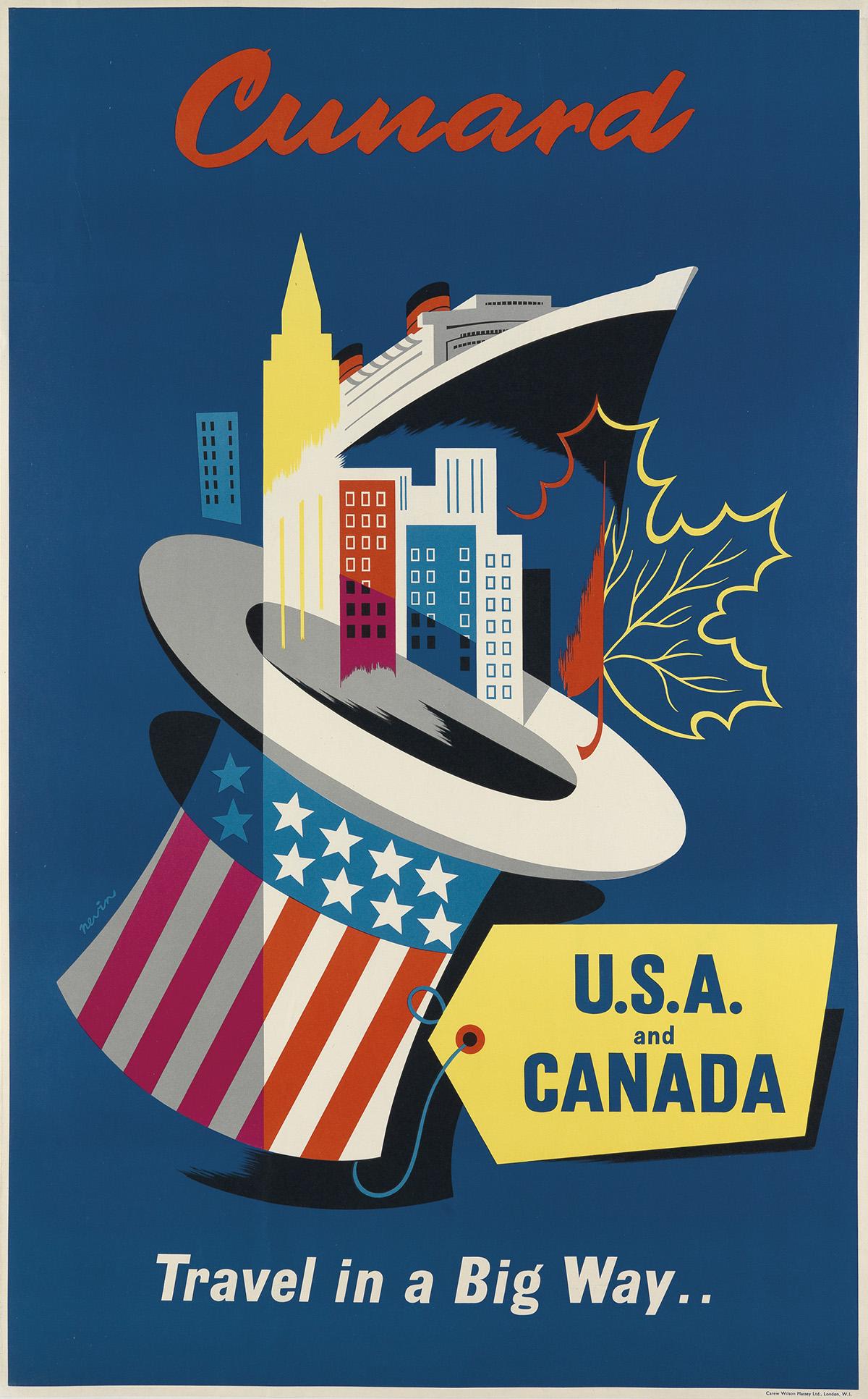 PAT-NEVIN-(1912-1995)-CUNARD--USA-AND-CANADA--TRAVEL-IN-A-BI