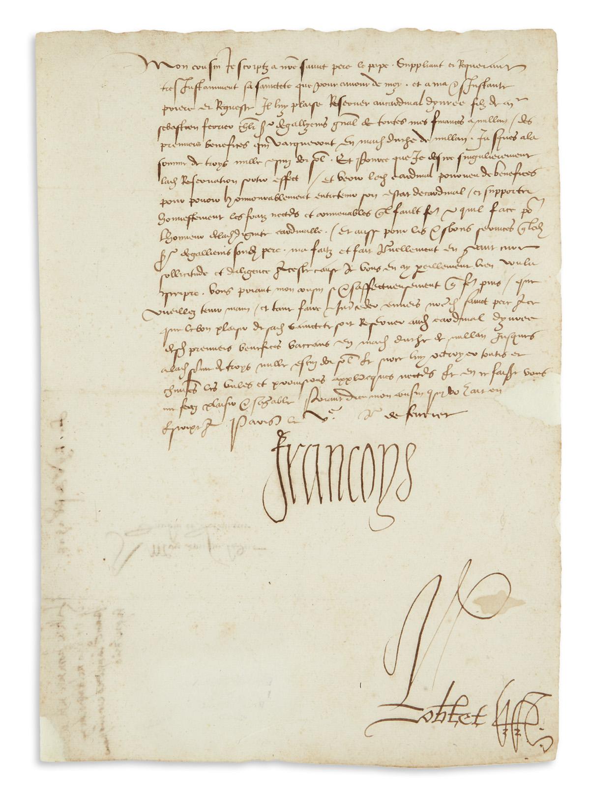 FRANCIS-I;-KING-OF-FRANCE-Letter-Signed-Francoys-to-the-Duke