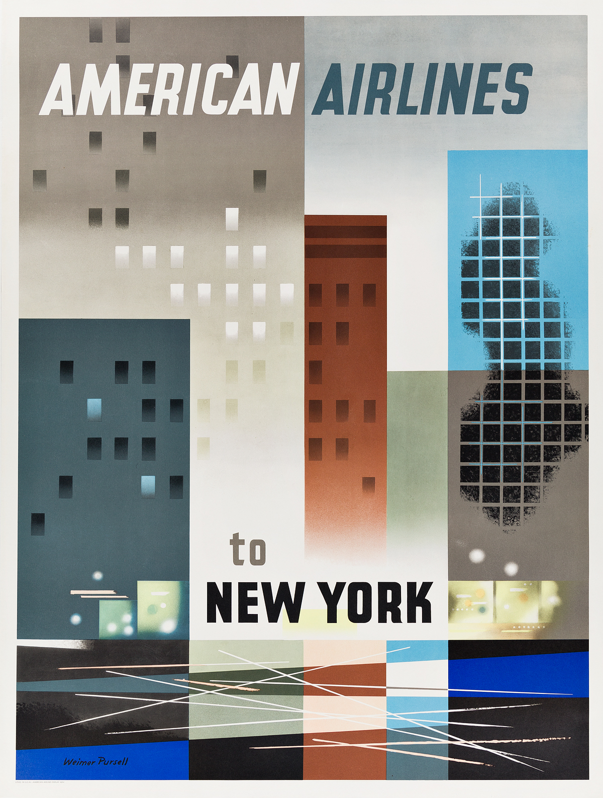 WEIMER-PURSELL-(1906-1974)-AMERICAN-AIRLINES-TO-NEW-YORK-1956-39x29-inches-100x75-cm