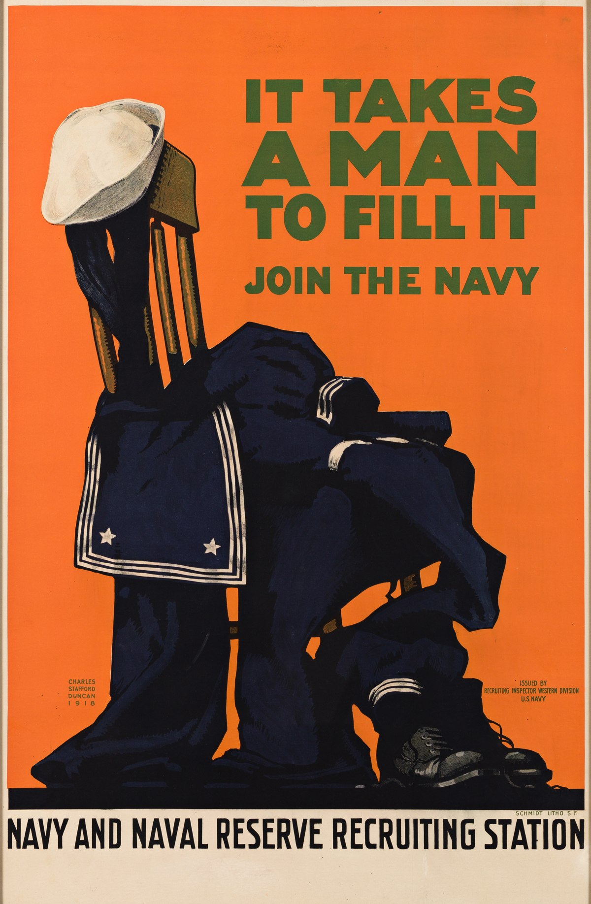CHARLES STAFFORD DUNCAN (1892-1952).  IT TAKES A MAN TO FILL IT / JOIN THE NAVY. 1918. 40¾x26½ inches, 103½x67¼ cm. Schmidt Litho., San
