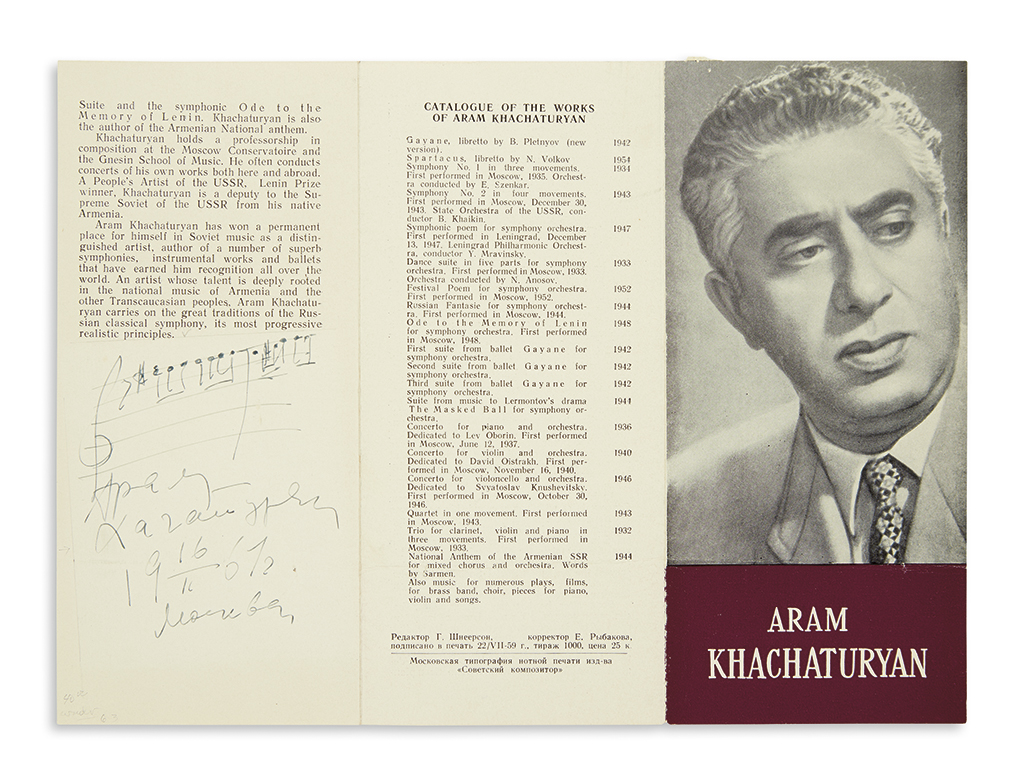 KHACHATURIAN-ARAM-Autograph-Musical-Quotation-dated-and-Sign
