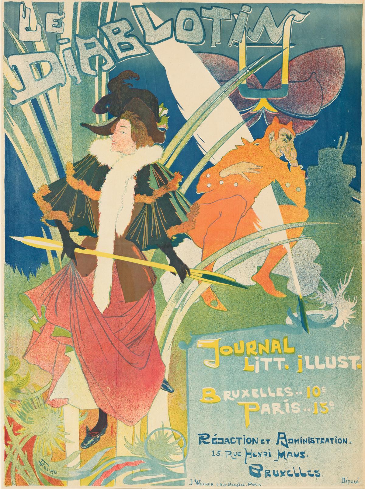 GEORGES DE FEURE (1868-1943).  LE DIABLOTIN. 1894. 30x22 inches, 77x57 cm. J. Weiner, Paris.